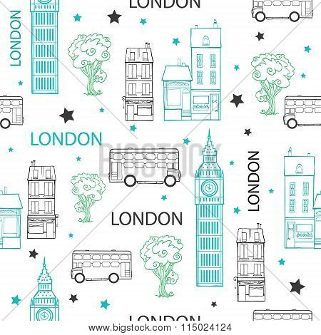 Vector London Streets Hand Drawn Seamless Pattern with houses, trees, busses and Big Ben tower.
