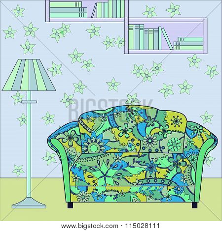 Vector cartoon funny interior with painted couch