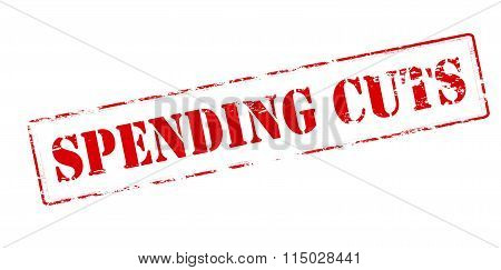 Rubber stamp with text spending cuts inside vector illustration