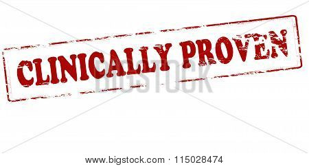 Rubber stamp with text clinically proven inside vector illustration