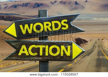 Words - Action signpost in a desert background