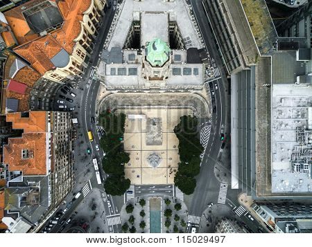 Top View of City hall and Liberty Square, Porto, Portugal