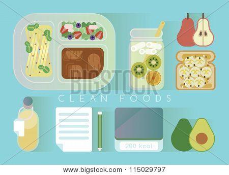 Clean foods design blue set
