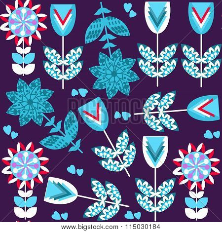 Floral Seamless Pattern And Seamless Pattern In Swatch Menu, Vector Illustration