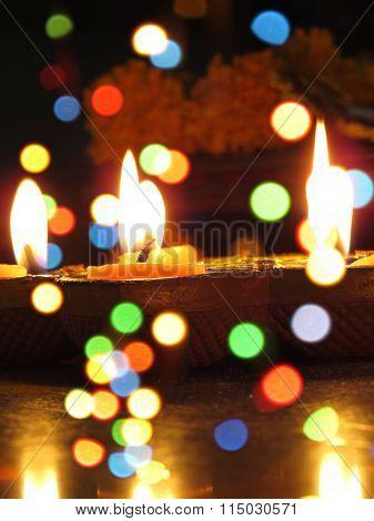Diwali Lamps And Colors