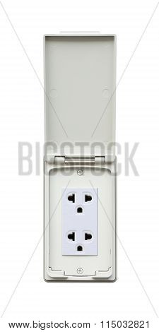 Outdoor electrical outlet with cover on white background.