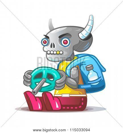 Skeleton traveler. Vector mascot.