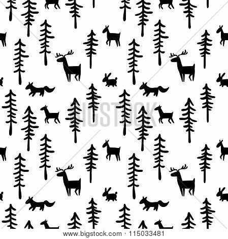 Black and white pattern (background). Forest, trees and animals: deer, hare, fox. Seamless ornament.