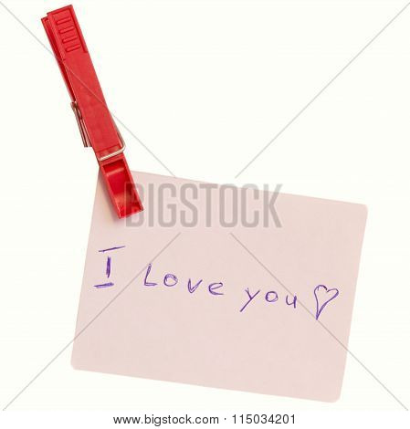 Paper note with declaration of love