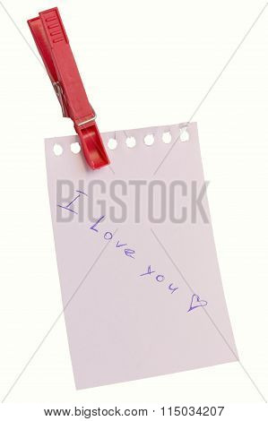 notebook page with declaration of love