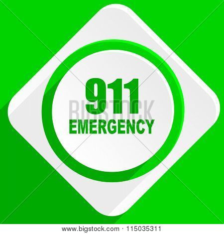 number emergency 911 green flat icon
