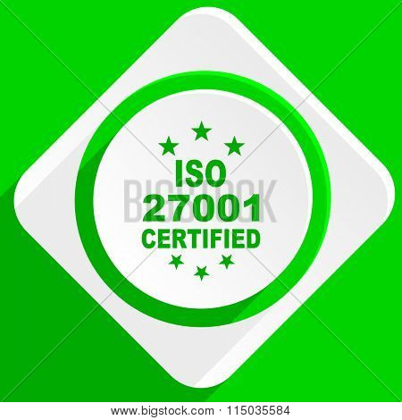 iso 27001 green flat icon