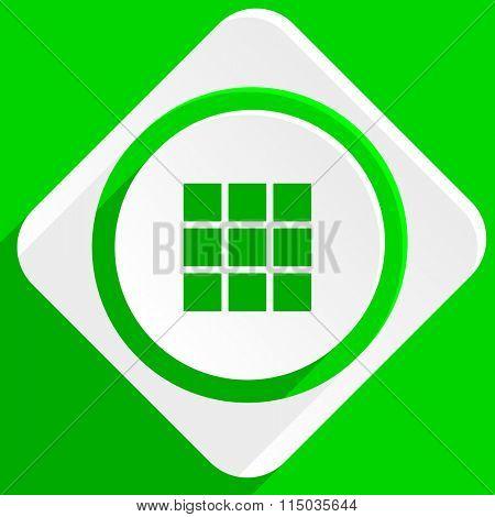thumbnails grid green flat icon