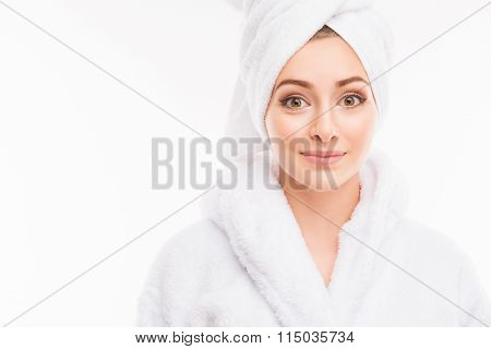 Young Pretty Cute Girl With Towel On Her Head
