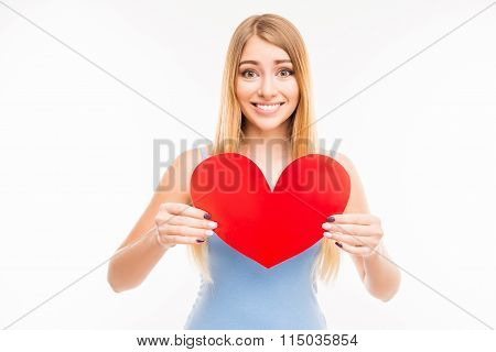 Cheerful Young  Girl Holdind Big Paper Heart
