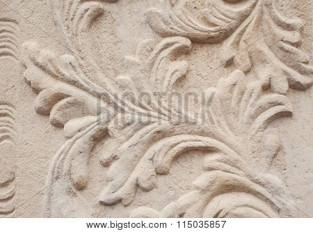 Close-up Of Architectural Relief Pattern Plants