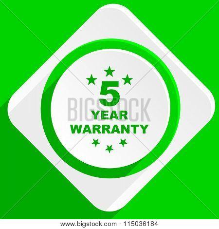 warranty guarantee 5 year green flat icon