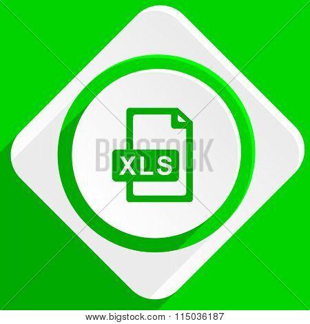 xls file green flat icon