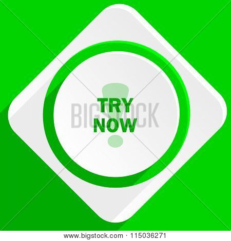 try now green flat icon