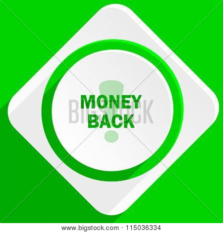 money back green flat icon