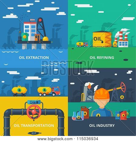 Oil industry flat set