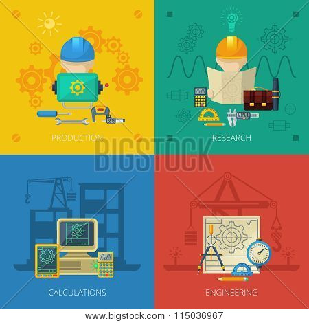 Engineer Flat Icons Composition Square