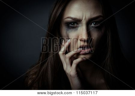 Close Up Photo Of Sorrow Sad Girl Touching Her Face