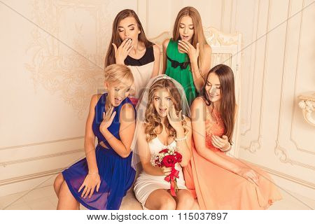 Surprised Bridesmaids Celebrate A Bachelorette Party Of Bride