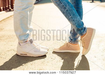 Closeup Photo Of Nice Couple In Love On The Bridge Standing Together