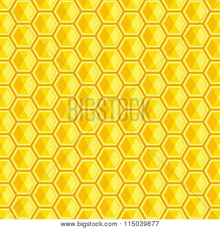 Vector And Illutration Of Honeycomb, Bright Golden Hexagons Background