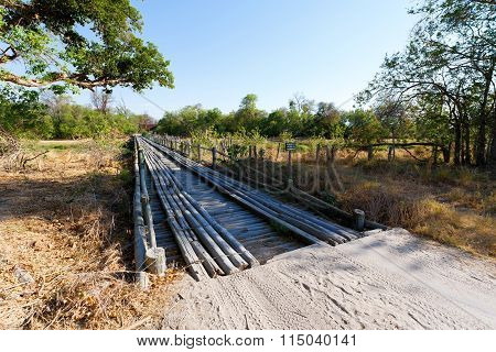 Wooden Bridge Over Okavango Swamps
