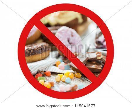 close up of chocolate and sweets behind no symbol