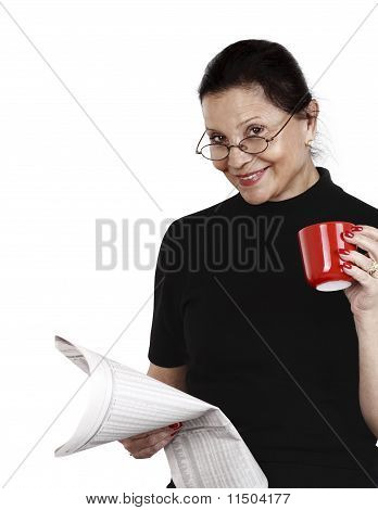 Woman Looks At Newspaper