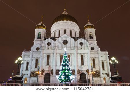 Christ The Savior Cathedral, Moscow, Russia, New Year, Christmas Day And Epiphany. City Landscape. V