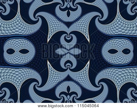 Symmetrical Textured Background With Spirals. Gray And Blue Palette. Computer Generated Graphics