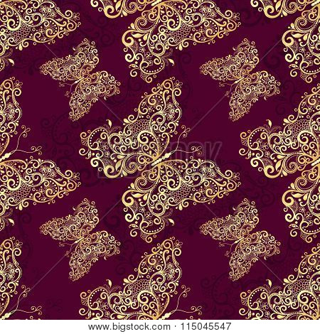 Seamless Purple-gold Pattern