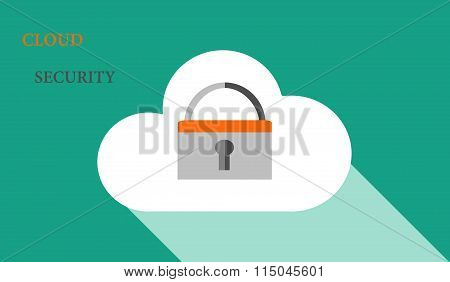 Cloud security flat vector illustration