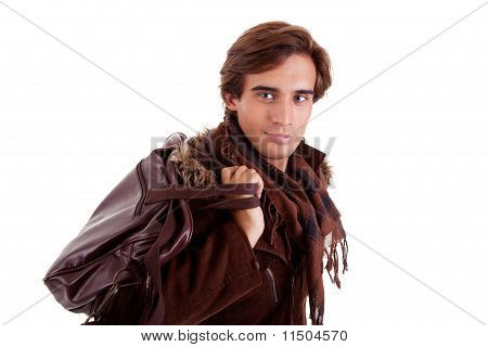 Portrait Of A Young Man With A Handbag, Isolated On White. Studio Shot