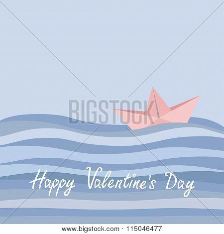 Happy Valentines Day. Love Card. Origami Paper Boat And Ocean Sea Waves. Flat Design Rose Quartz Ser