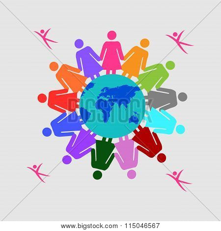 Vector Illustration Of Women Holding Together, Concept Of Teamwork, Unity, Strength Leadership