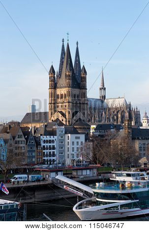 Rhine Embankment And Saint Martin's Cathedral. Cologne