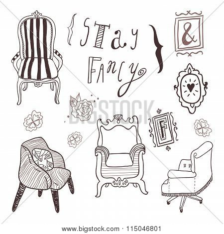 Stay Fancy illustrations set. Hand drawn furniture and lettering, interior decorations, frames.
