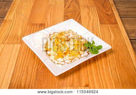 Delicious fried banana dessert.