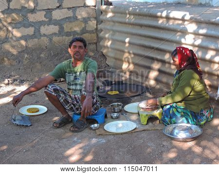 Rural India scene - cooking