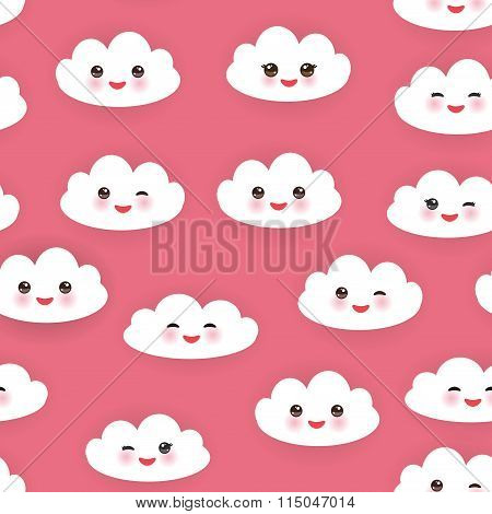 Kawaii funny white clouds set, muzzle with pink cheeks and winking eyes. Seamless pattern  on pink b