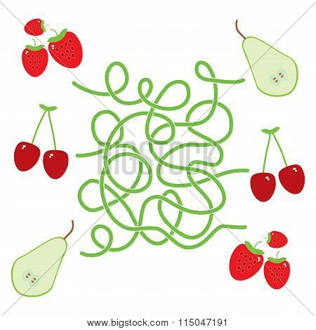 pear cherry strawberry fruit labyrinth game for Preschool Children. Vector