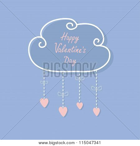 Happy Valentines Day. Love Card. Cloud With Hanging Rain Button Drops, Bow. Heart Shape. Dash Line F