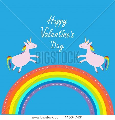 Happy Valentines Day. Love Card. Rainbow In The Sky. Two Cute Unicorns. Flat Design