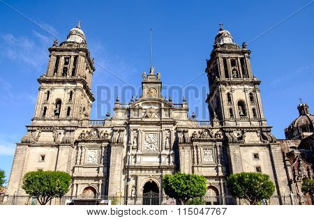 Front View Of Cathedral Metropolitana In Mexico City
