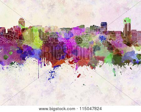 Hamilton Skyline In Watercolor Background